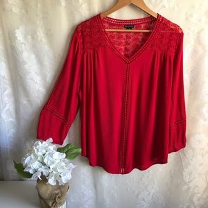 New Directions Red Blouse Lace Long Sleeve Top XL